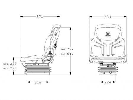 Grammer Compacto Basic W mechanisch geveerde stoel