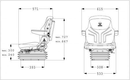 Grammer Maximo L/G (MSG95G/721) Nitro L-NA luchtgeveerde stoel