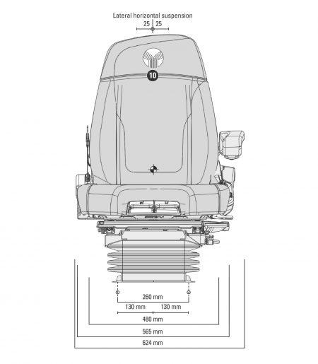Grammer Maximo Dynamic Plus MSG95AL/741 luchtgeveerde stoel voor tractor tekening